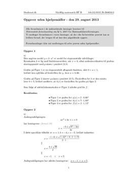 HF Matematik B 29. august 2013 - Delprøven uden hjælpemidler
