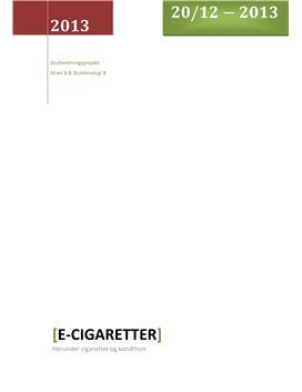 SRP om Rygning og E-cigaretter i Idræt og Bioteknologi