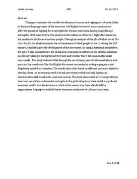 SRP om Borgerrettighedsbevægelsen og The Color Purple