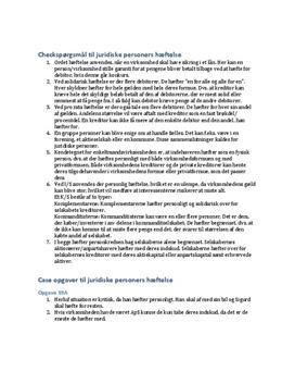Checkspørgsmål - Hæftelse i Erhvervsret C