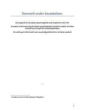 Danmark under besættelsen | Opgave i Historie