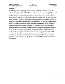 SSO om KAK og Blekingegadebandens formål
