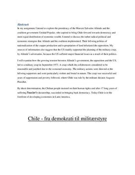 SOP: Årsager til militærkuppet i Chile