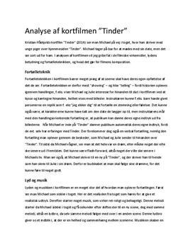 """Analyse af kortfilmen """"Tinder"""""""
