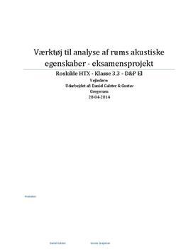 Analyse af rums akustiske egenskaber | Teknikfag - Design og produktion A