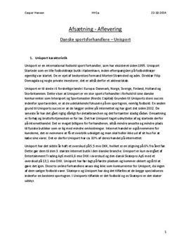 Analyse af Unisport | Afsætning B