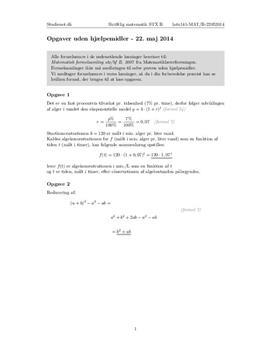 STX Matematik B 22. maj 2014 - Delprøven uden hjælpemidler