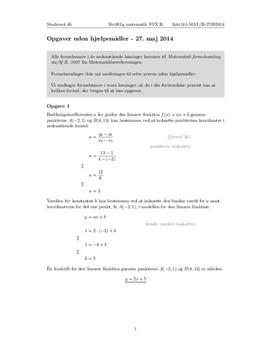 STX Matematik B 27. maj 2014 - Delprøven uden hjælpemidler
