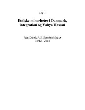 SRP: Etniske minoriteter i Danmark, integration & Yahya Hassan