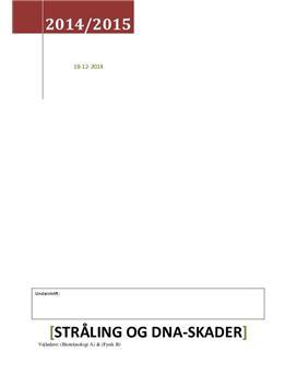 SRP: Stråling og DNA-skader