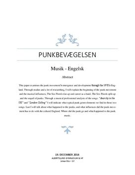 SRP om punkbevægelsen i Musik & Engelsk
