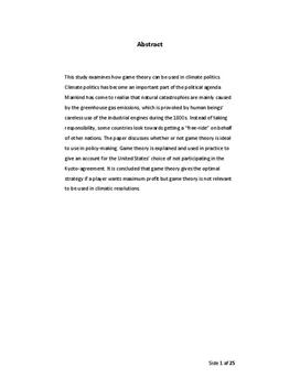 SRP: Spilteori og klimapolitik