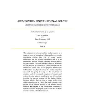 SRP om atombomben og Irans atomprogram | Samfundsfag A og Fysik B