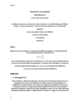 Resistans i en metaltråd | Fysik B
