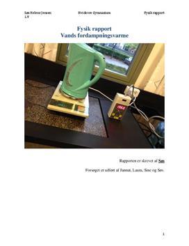Vands fordampningsvarme | Fysikrapport