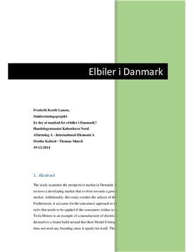 SOP om Elbiler: Er der et marked for elbiler i Danmark?