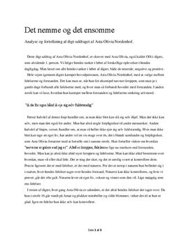 9596f71defa Det nemme og det ensomme af Asta Olivia Nordenhof | Analyse ...