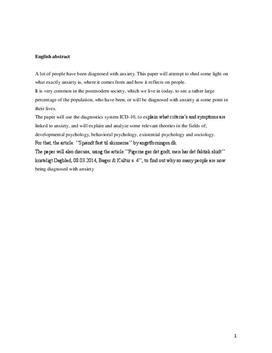 SSO om angst | Psykologi B