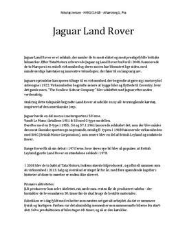 Jaguar Land Rover | Afsætning A | Noter