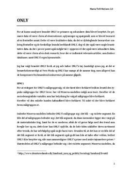 Analyse af brandet ONLY i Afsætning A