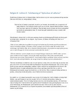 Hajj - Oplevelse af valfarten   Islam   Tekstlæsning