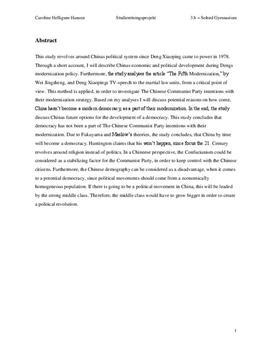 SRP: Kinas økonomiske og politiske modernisering