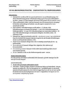 Synopsis om Danmarks medlemskab af EU i Samfundsfag B