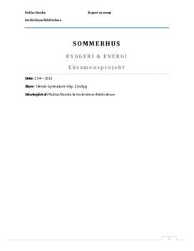 Projekt: Sommerhus | Teknikfag - Byggeri og energi A
