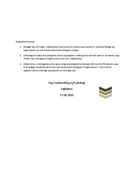SRO om krigen i Afghanistan og Danmarks deltagelse