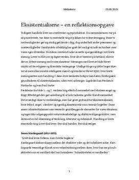 Sammenligning af Kierkegaard, Nietzsche og Sartre | Idéhistorie B