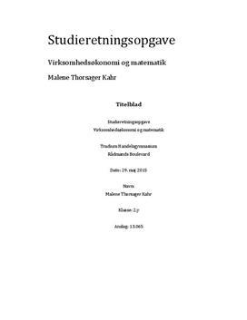 SRO om differentialregning og den optimale pris i VØ A og Matematik B