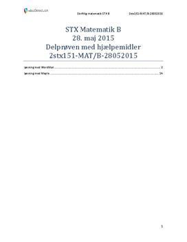 STX Matematik B 28. maj 2015 - Delprøven med hjælpemidler