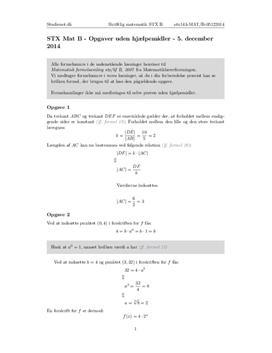 STX Matematik B 5. december 2014 - Delprøven uden hjælpemidler