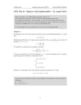 STX Matematik B 13. august 2015 - Delprøven uden hjælpemidler
