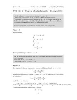 STX Matematik B 14. august 2014 - Delprøven uden hjælpemidler