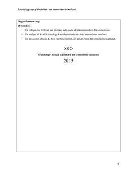SSO: Scientologys syn på individet i det senmoderne samfund   Religion B