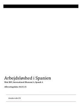 Mini-SRP om arbejdsløshed i Spanien