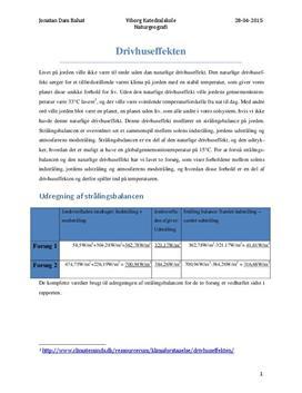 Drivhuseffekten og strålingsbalancen | Rapport | Naturgeografi C
