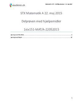 STX Matematik A 22. maj 2015 - Delprøven med hjælpemidler