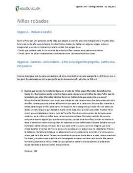 Niños robados - Spansk A - Eksamen 31. maj 2012 - STX