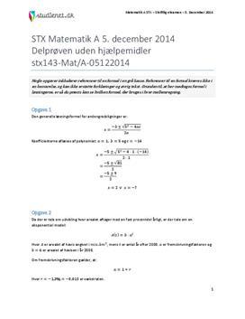 STX Matematik A 5. december 2014 - Delprøven uden hjælpemidler