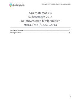 STX Matematik B 5. december 2014 - Delprøven med hjælpemidler
