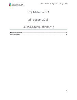 HTX Matematik A 28. august 2015 - Vejledende besvarelse