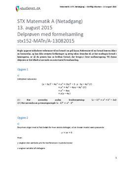 STX Matematik A NET 2015 13. august - Delprøven med autoriseret formelsamling