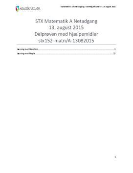 STX Matematik A NET 2015 13. august - Delprøven med alle hjælpemidler