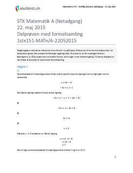 STX Matematik A NET 2015 22. maj - Delprøven med autoriseret formelsamling