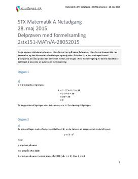 STX Matematik A NET 2015 28. maj - Delprøven med autoriseret formelsamling