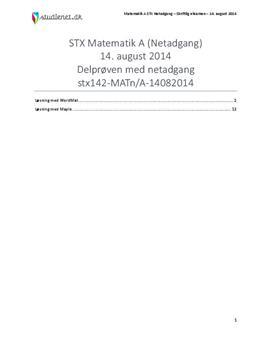 STX Matematik A NET 2014 14. august - Delprøven med alle hjælpemidler