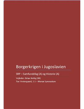 SRP om borgerkrigen i Jugoslavien 1991-2001