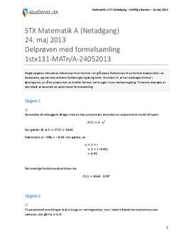 STX Matematik A NET 2013 24. maj - Delprøven med autoriseret formelsamling